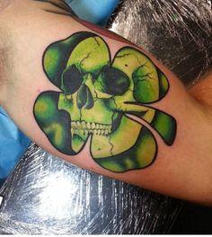 Clover skull tattoo