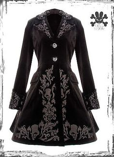 BLACK HELL BUNNY SPIN DOCTOR STEAMPUNK VICTORIAN LONG VELVET JACKET COAT FROCK
