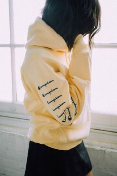 Urban Outfitters Champion & Uo Arm Logo Hoodie Sweatshirt - Bright Yellow L Hoodies For Teens, Trendy Hoodies, Hoodie Sweatshirts, Comfy Hoodies, Outfits With Hoodies, Sweatshirt Outfit, Pullover Hoodie, Hoodie Outfit Casual, Hoodie Dress