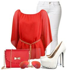 rouge, blanc, mode, style, tenue, swag