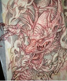Artwork by: Mike Boissoneault Location: Cranston RI, USA Artist's IG: – Tattoo Sketches & Tattoo Drawings Japanese Dragon Tattoos, Japanese Tattoo Art, Japanese Tattoo Designs, Japanese Sleeve Tattoos, Dragon Tattoo Sketch, Dragon Tattoo Designs, Tattoo Sketches, Japan Tattoo, Kunst Tattoos