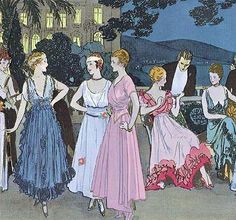 Louis Strimpl, detail, La Cote d'Azur ou Une fête sur la terrasse (The Cote d'Azur or A party on the terrace), La Gazette du Bon Ton, Summer 1915.    Louis Strimpl Illustrating design by Georges Dœuillet, House of Beer, Madeleine Chéruit, House of Callot Soeurs, Mme. Jeanne Paquin, House of Worth, Jeanne Lanvin,  Jacques Doucet, Martial & Armand, Jenny Sacerdote, known as Madame Jenny and House of Premet.