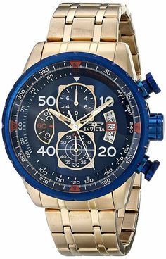Men& Wrist Watches - Invicta Mens 19173 Aviator Analog Display Japanese Quartz Gold Watch * Continue to the product at the image link. Cool Watches, Watches For Men, Men's Watches, Luxury Watches, Popular Watches, Wrist Watches, Fashion Watches, Authentic Watches, Color Dorado