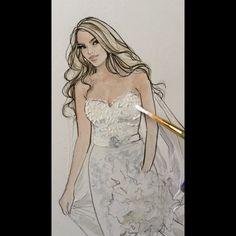 Dawna- #realbride #bridalillustration #studiodays  For Illustration enquiry- please contact- karenorrillustration@gmail.com