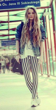 denim jacket + striped leggings.