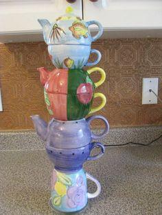 Tea for Three, Coffee for Me Tea Pots, Patio, Mugs, Coffee, Tableware, Garden, Pretty, Yard, Dinnerware