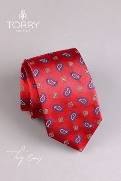 Our ties are part of the premium category, being made in Italy. They are made of Como silk and are noted for their superior quality, presenting an impeccable handwork. Red Silk, Superior Quality, Paisley Print, Silk Ties, How To Make, Handmade, Italia, Hand Made, Handarbeit