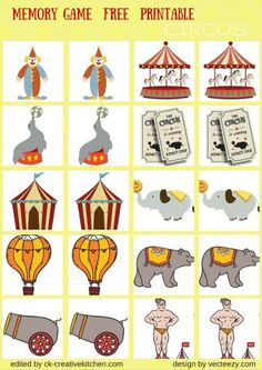 CIRCUS AND PARK - #MEMORY #GAME FREE PRINTABLES / #PRESCHOOL