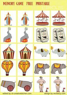 circus matching memory game free printable