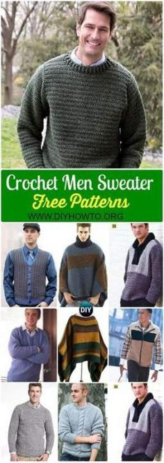 Crochet Men Sweater Free Patterns is part of Knitting and Crochet Sweater - Collection of Crochet Men Sweater Free Patterns & Tutorials Crochet Man Vest, Cardigan, Pullover sweater, poncho and Crochet Men, Crochet Jumper, Black Crochet Dress, Crochet Poncho Patterns, Crochet Sweaters, Crochet Vests, Crochet Edgings, Crochet Motif, Crochet Shawl