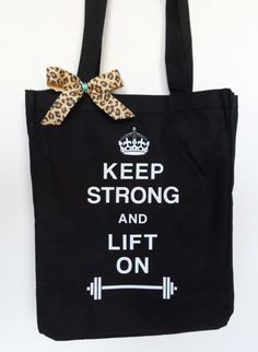 Workout Tote Keep Strong and Lift On Gym by NobullWomanApparel, $15.50