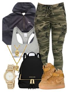 A fashion look from August 2016 featuring NIKE, Topshop bras and MICHAEL Michael Kors backpacks. Browse and shop related looks. Swag Outfits For Girls, Tomboy Outfits, Cute Swag Outfits, Teenager Outfits, Dope Outfits, Teen Fashion Outfits, Trendy Outfits, Girl Outfits, Ladies Fashion
