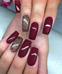 Trending Nail Colors Winter Uploaded By Ginnie Burgundy Nails, Red Nails, Hair And Nails, Brown Nails, Popular Nail Colors, Fall Nail Colors, Winter Nail Colors, Christmas Nail Designs, Fall Nail Designs