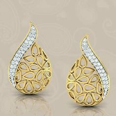 This pear engagement ring set is crafted in solid rose gold with a pear shaped moissanite set into a gorgeous basket setting on top of a diamond pebble band. Modern Jewelry, Gold Jewelry, Women's Earrings, Diamond Earrings, Diamond Jewellery, Gold Earrings Designs, Ring Set, Jewelry Patterns, Gold Bangles
