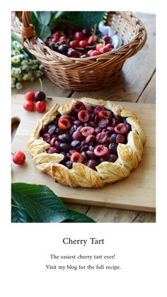The prettiest cherry tart I made so far. I tried to replicate some cherry tree leafs for decorating it. 🍒 Also, it is so easy to prepare and the result is simply delicious ❤️ I chose cherries, but this tart goes with many other fruits too. Tree Cakes, Cherry Tart, Cherries, Pie, Decorating, Fruit, Easy, Desserts, Food