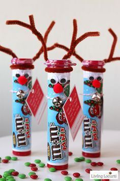 Rudolph the Red Nosed Reindeer DIY Christmas Candy. Cute gifts for school friends or stocking stuffers from Santa or an Elf on the Shelf!