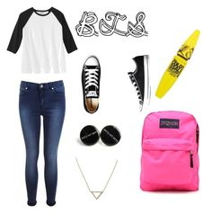 """BTS"" by aggelikipapkon ❤ liked on Polyvore featuring Miss Selfridge, JanSport, Banana Republic, Converse and Maybelline"