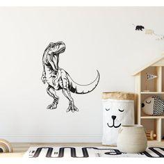 T-Rex Dinosaur Children's Wall Sticker Hand Drawn Boys Wall Stickers, Polka Dot Wall Decals, Wall Stickers Quotes, Polka Dot Walls, Childrens Wall Stickers, Wall Art Quotes, Personalized Wall Art, Little Girl Rooms, Room Paint