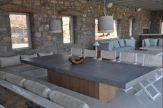 Outdoor dining table, custom made, concrete and solid chestnut, outdoor living, greek style Dining Tables, Outdoor Dining, Cement, Concrete, Outdoor Gardens, Solid Wood, Greek, Backyard, Outdoor Furniture