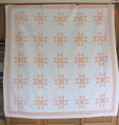 Antique Quilt Ohio Star Quilt Salmon Colored by RiverHouseDesigns ($125)