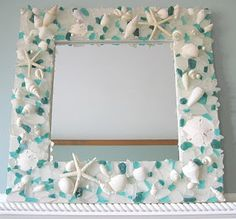 """COOL CRAFT, """"Seashell Mirror/Picture Frame"""" something to do with our shells from our honeymoon"""