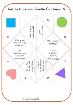 Get to know you Cootie Catchers for Back to School