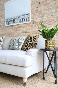 BIG ANNOUNCEMENT: Our Sofa Collaboration with Interior Define Now Available! #theeverygirl :: I want that pillow!!!