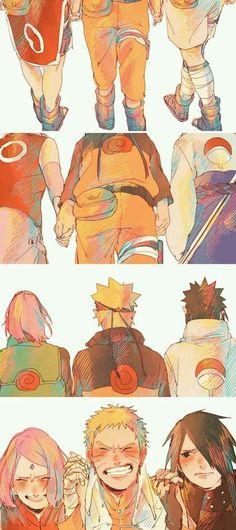 Equipe 7 Sakura, Naruto e Sasuke Anime Naruto, Manga Anime, Naruto Fan Art, Naruto Shippuden Anime, Naruto Gaiden, Anime Ninja, Naruto Y Sasuke, Naruto Cute, Sarada Uchiha