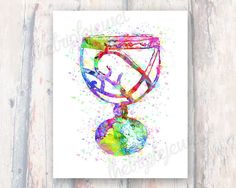The Mortal Instruments Cup, Watercolor Print, Digital Art, Geekery, Fangirl, Fandom, Mortal Cup, Wall Art, Decoration, Colorful, Splatter
