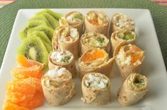 Have a Luau in your home this winter! Kiwi pineapple and orange fruit sushi