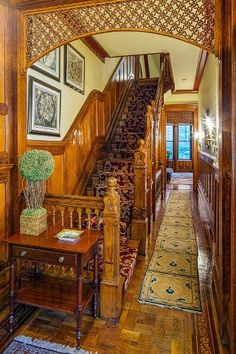 Victorian home interior, stairway and hall. I love gingerbread! ( that's the detail over the archway)