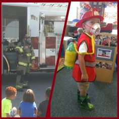 For fire safety week I made a LOW budget fireman suit so the kids wouldn't be afraid and learn a little.