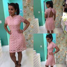 Vestidinho de renda rosé super charmoso e elegante 🌸#mademoiselle#dress#rosé#romantico#elegance👗🌸