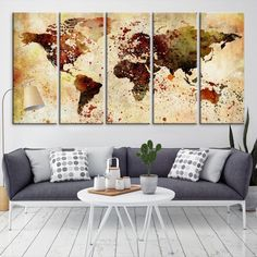 27825 - Large Wall Art World Map Canvas Print- Custom World Map Push Pin Wall Art- Custom World Map Canvas Poster Print- Personalized Wall Art Large World Map Canvas, Large Canvas Wall Art, Extra Large Wall Art, Canvas Art, Wall Prints, Canvas Prints, Grunge, Water Color World Map, Antique World Map