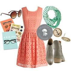 The countdown to spring has begun (22 days to be exact)! The first day of sunshine calls for a pretty, floral, eyelet frock like the Making Melodies Dress. Wrap yourself in a pop of color with a striped infinity scarf. Grab your Celebrity Snapshot Sunglasses and bask in the warm rays while you breathe in the fresh air of a new season!    Do you love #Polyvore? Would you like to be #ModStyled? Pop in and say 'hi' to us here: http://www.modcloth.com/modstylists