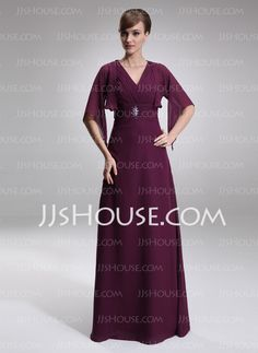 Mother of the Bride Dresses - $136.99 - A-Line/Princess V-neck Floor-Length Chiffon Mother of the Bride Dress With Ruffle (008006189) http://jjshouse.com/A-Line-Princess-V-Neck-Floor-Length-Chiffon-Mother-Of-The-Bride-Dress-With-Ruffle-008006189-g6189