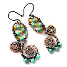 Copper Wire Wrapped  Earrings  with yellow and by Anabel27shop, $17.00