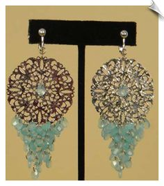 Silvertone Filigree Chandelier Clip On Earrings Accented with Aqua Blue Beads