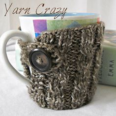 Cable Knit Coffee Mug Cozy // CHOOSE YOUR COLOR by yarncrazygirl
