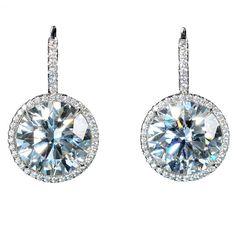 Single Stone 5.6 Carat Diamond Drop Earrings