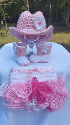 Pink Crochet Baby Cowgirl Hat Boots and Full by CuddleMeUpDesigns