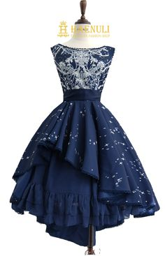 Ball of Starlight JSK(Blue) from Haenuli Shop Cute Prom Dresses, Homecoming Dresses, Pretty Dresses, Beautiful Dresses, Short Dresses, Dresses Dresses, Mode Outfits, Dress Outfits, Fashion Dresses