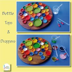 Droppers are excellent for fine motor skills. Colour of water can be matched to bottle tops.