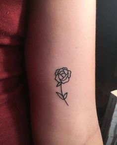 small, simple, tattoo, rose, flower, lines