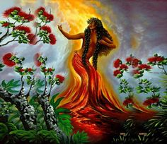 Pele is one of the most well known and revered in Hawaiian mythology. Pele is a goddess of fire, lightning, dance, wind, volcanoes and violence. Hawaiian Legends, Hawaiian Art, Hawaiian Tattoo, Hawaiian Woman, Hawaiian Dancers, Hawaiian Decor, Hawaiian Mythology, Hawaiian Goddess, Polynesian Art