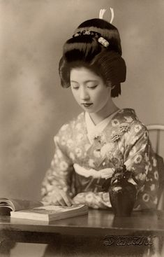 "kvetchlandia:  ""Uncredited Photographer Geiko (Geisha from Western Japan) Toba Reading Book c.1938  """