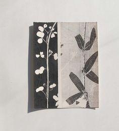 Small original botanical monoprint. Nature print Yorkshire Moorland summer wild flowers Influenced by Art Nouveau