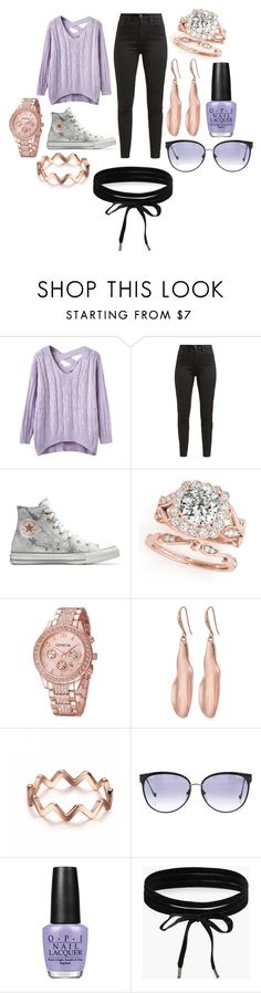 """""""ideas"""" by hannahleighhh on Polyvore featuring Levi's, Converse, Robert Lee Morris, Chrome Hearts, OPI and Boohoo"""