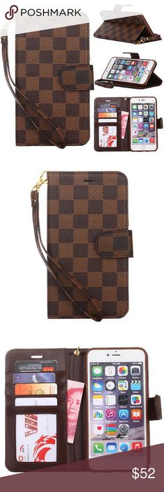 🆕Lux Grid Leather Wallet FlipCase/iPhone5,6,6S,7+ 🆕 Luxury Fashion Grid Leather Wallet/Wristlet Flip Case Cover For Apple iPhone 5/5S/5C/6/6S/6+/6s+/7/7+/Patterned Design/Magnetic Close/Kickstand/Card & ID Slots/Cash/Wristlet Strap/In a Dark Brown & Brown Checker Design/Goldhardware/Lobstsrclaw Attachment/Everything U might need at a grab! Lighter weight than a bag/perfect for runs/walks/Always handfree carry! *NOTE: This is a FASHION CASE ONLY! *Don't ask the OBVIOUS! U will be ignored…