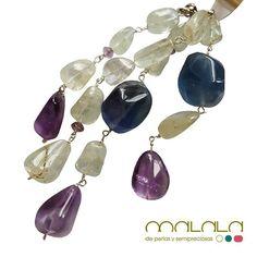#collar de #aguamarinas #fluorita #amatistas  #necklace #accesories #diseñoExclusivo #elegancia #fashion #femenino #fino #gift #guapa #handmade #hautecouturejewelry  #instafashion  #jewel #joya #joyeria #joyeriadediseño #ladies #MadeinSpain #madrid #magia #MalalaDePerlas